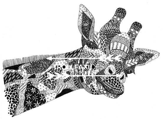 Download Print  PDF Giraffe Art  Giraffe Print  Safari