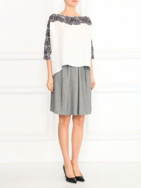 Шелковая блуза с ажурной отделкой - Общий вид