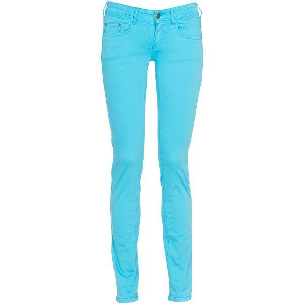 CIMARRON Jean slim Bleu ($89) ❤ liked on Polyvore featuring jeans, pants, bottoms, pantalones, calças, cimarron, blue slim jeans, turquoise skinny jeans, slim fit jeans et blue skinny jeans