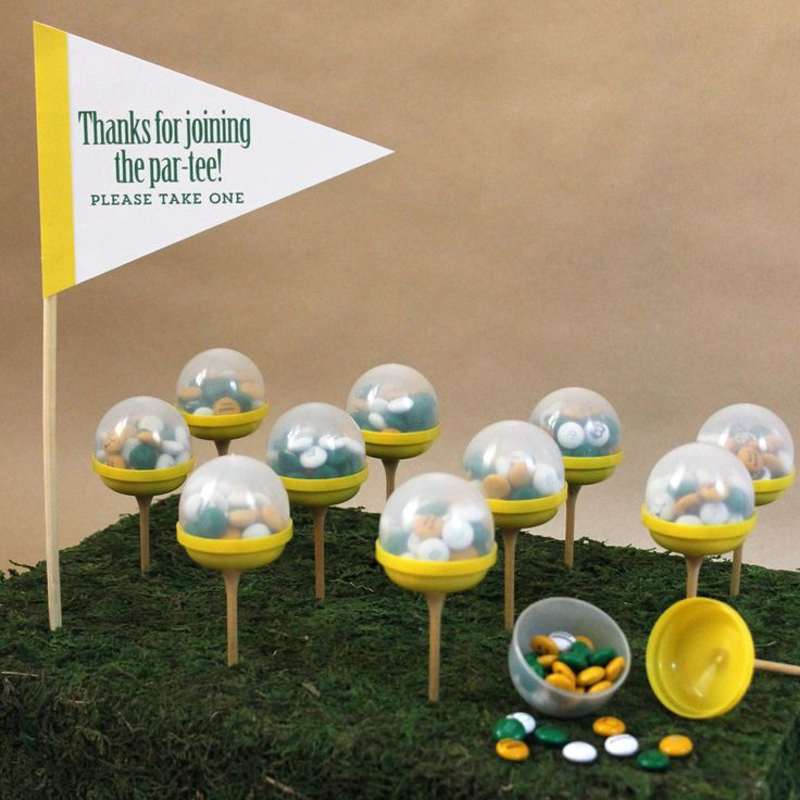 """Combine vending capsules, golf tees, @mymms and our """"Thank you for joining the pa-tee"""" printable to tee up a great thank you favor!"""