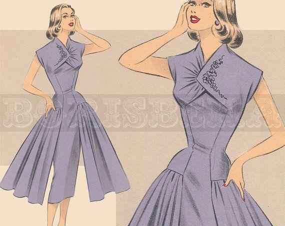 vintage French DRESS sewing pattern 50s PDF by borisbeka on Etsy, $7.50