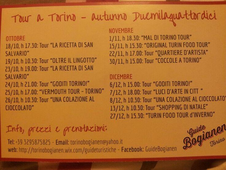 Seguire il ricco programma dei #tour autunnali per scoprire #Torino con le Guide Bogianen