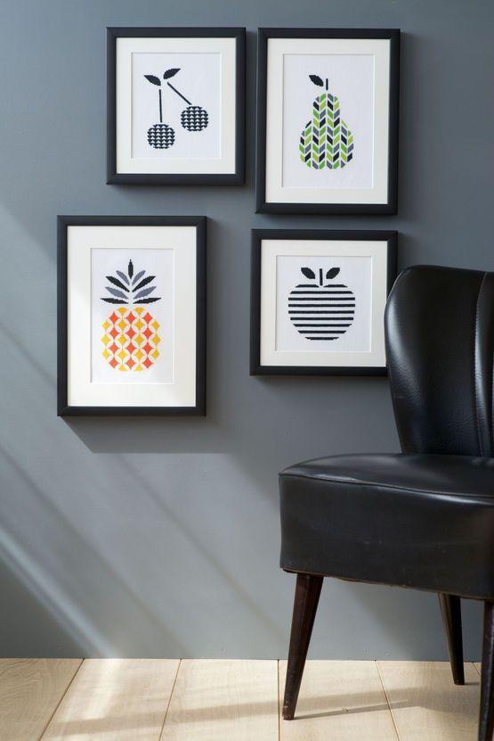 Contemporary Fruit Cross Stitch Kits (Set Of 4)