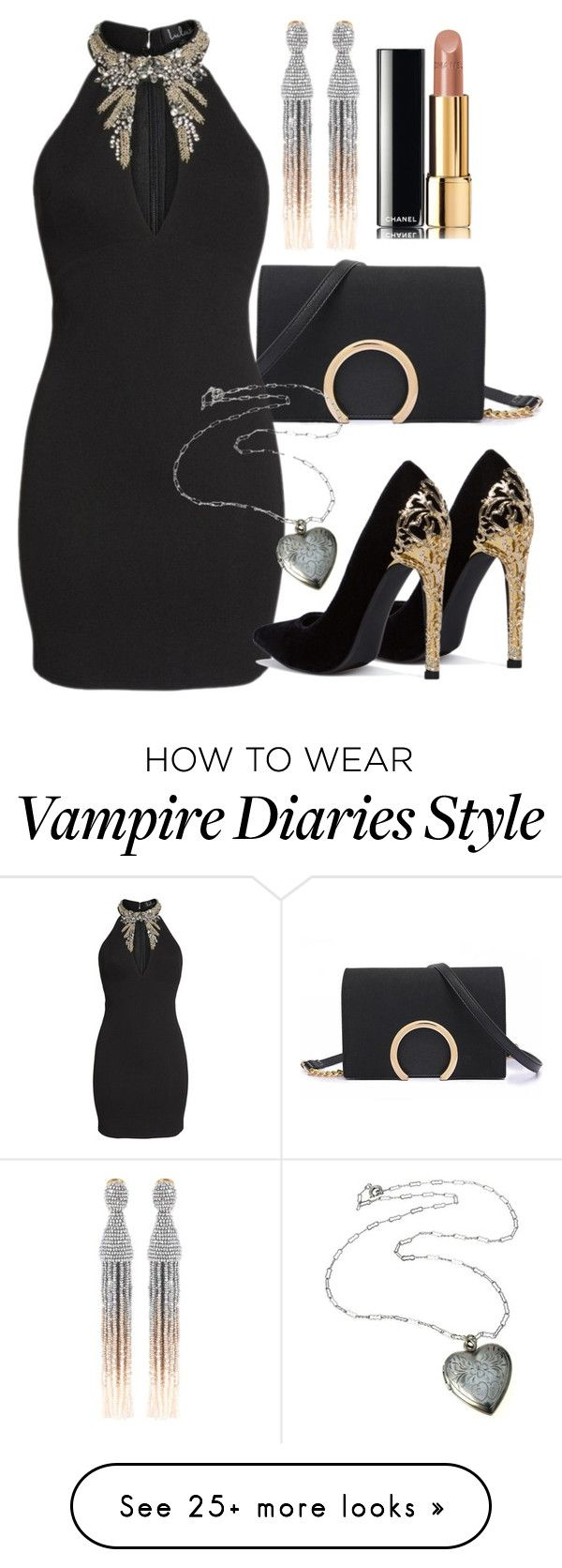 """Elena Inspired Party Outfit - The Vampire Diaries / The Originals"" by fangsandfashion on Polyvore featuring LULUS, Oscar de la Renta and Chanel"