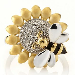 Affinity Diamonds Flower & Bee Ring Sterling Silver