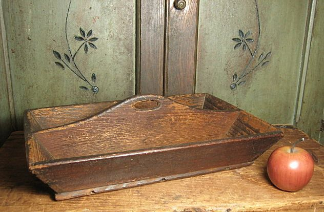 Fabulous Early Old Antique Handmade Canted Wooden Cutlery Tray ~ Square Nails $105 (on sale!)