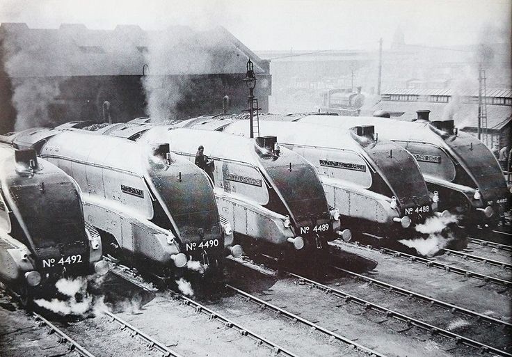 4492 Dominion of New Zealand, 4490 Empire of India, 4489 Dominion of Canada, 4488 Union of South Africa, 4482 Golden Eagle - at King Cross in 1937.  -  from Lee Pogson - Sir Nigel Gresley Facebook page.