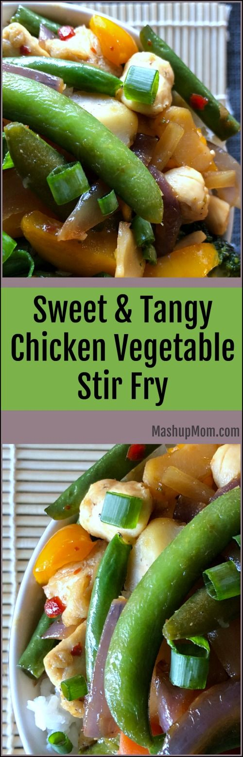 How about an easy 30 minute weeknight dinner recipe: Sweet & Tangy Chicken Vegetable Stir Fry! Red pepper jelly adds a sweet underlying tang to this easy 30 minute stir fry recipe, which complements both the salty soy and the slight kick from the red pepper flakes and ginger. | MashupMom.com #stirfry #redpepperjelly #30minutedinner
