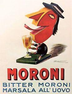 ✔️ By Luciano Achille Mauzan (1883-1952), Bitter Moroni Marsala all'uovo