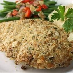 This baked chicken recipe is ready in just 30 minutes. An easy breadcrumb and Parmesan coating keeps each chicken breast moist and delicious.