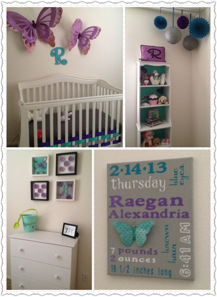 Purple teal gray nursery butterflies and basket weave crib decorations