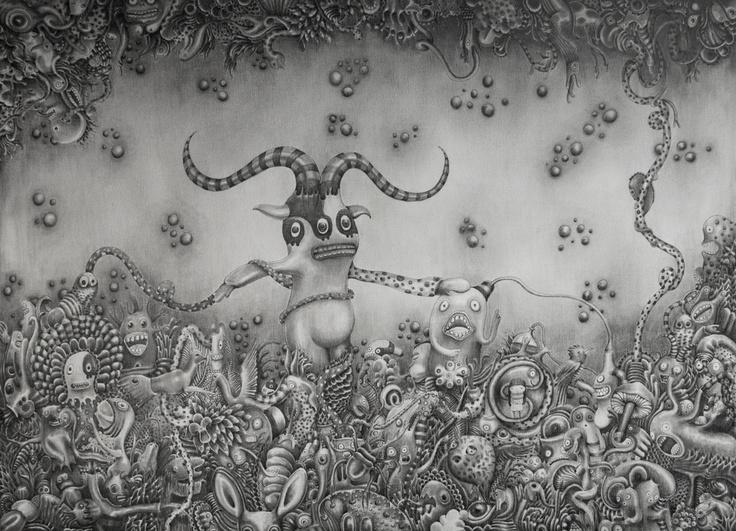 Little Daimon   graphite and ink on Canvas   cm 50x80   2012   #Art #Surreal #Neo Pop #Arte