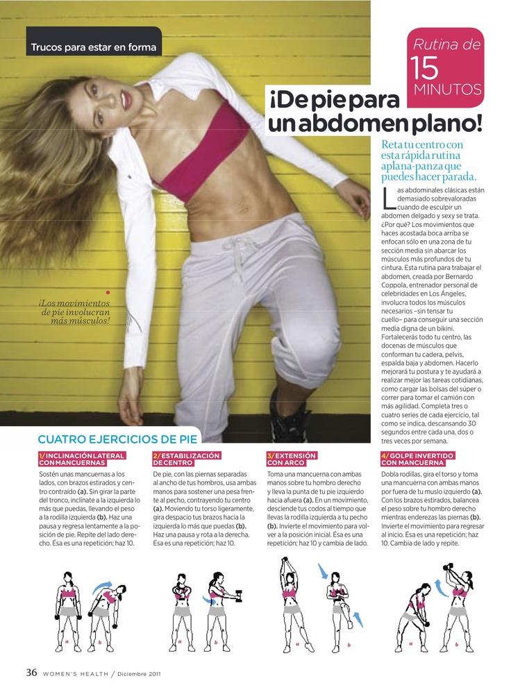 Cuatro ejercicios de pie, para un ¡abdomen plano!