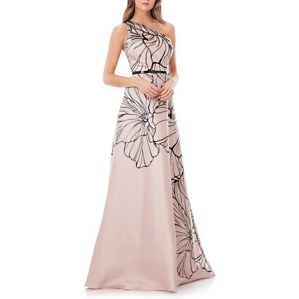 Women\'s Carmen Marc Valvo Infusion Print One-Shoulder Mikado Gown ...