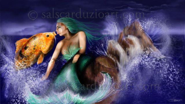 Mermaid Kissing a Koi