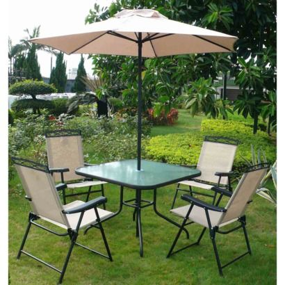 Metal And Plastic Folding Chairs, Glass Metal Table With Umbrella ($129)