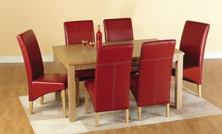 "Belgravia Wooden Dining Set with Six(6) Chairs - Red £579.95•Wooden dining  table/ Set . Dining room table with real natural oak veneer • Belgravia dining set with six G1 bycast faux leather dining room chairs   • Latest propositions for elegant dining set with six chairs   • Style conscious modern home owner   • Contemporary dining room set   • Rectangular table with 3"" square legs  • Dining room chairs also available in cream, red, brown     Finish: Real Natural Oak Veneer  Size: 59"" x…"