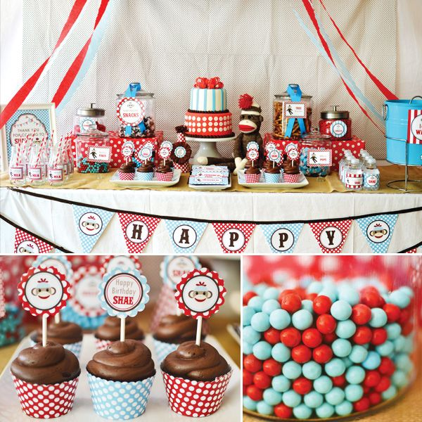 Adorable Rustic + Modern Sock Monkey Birthday Party // Hostess with the Mostess®