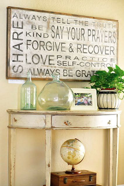 """Stencils + spray paint + wood = easy """"subway art"""" and I saw similar vases at Steinmart the other day."""