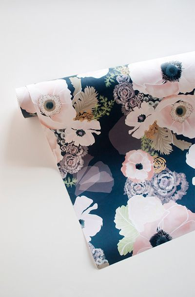 UNE FEMME blush and navy floral 20 x 29 gift wrap sheets 2 pk