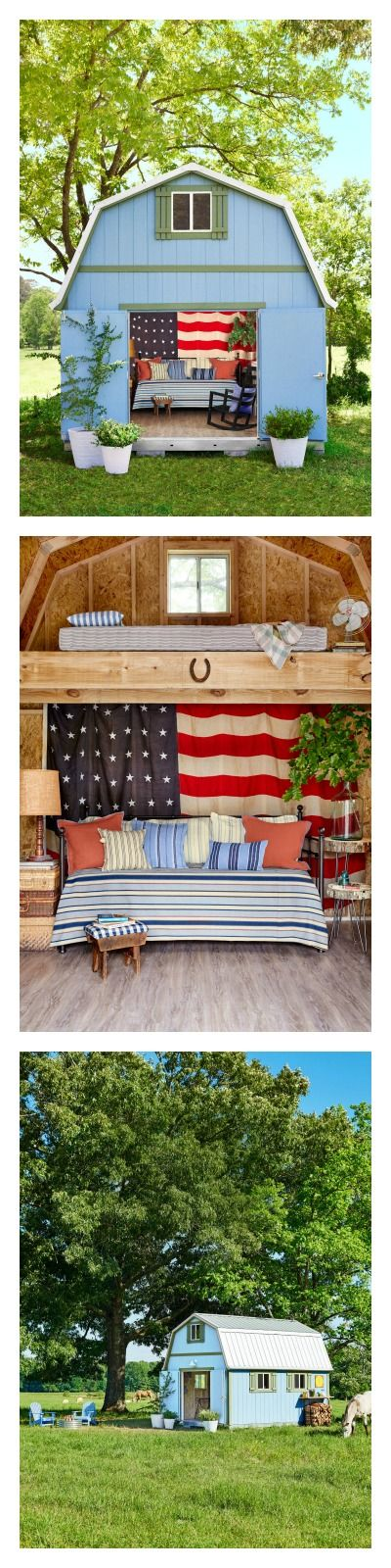 This charming she shed is everything we want in a backyard retreat. Its patriotic and rustic decor is the perfect relaxing atmosphere. You can decorate your own shed with these smart ideas!