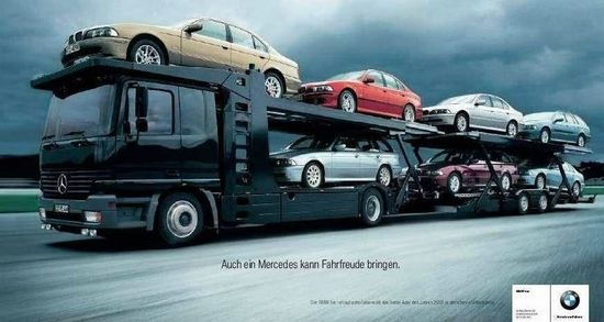 """""""También puede ser placentero conducir un  Mercedes"""". Agencia Jung Von Matt, Alemania. BMW"""