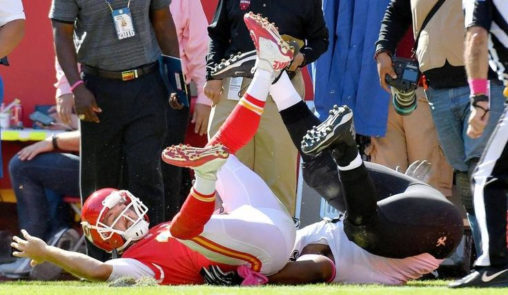 Saints vs. Chiefs  -  27-21, Chiefs  -  October 23, 2016:    Kansas City Chiefs quarterback Alex Smith is hit as he goes out of bounds by New Orleans Saints defensive tackle David Onyemata in the second quarter during Sunday's football game on October 23, 2016 at Arrowhead Stadium in Kansas City, Mo.