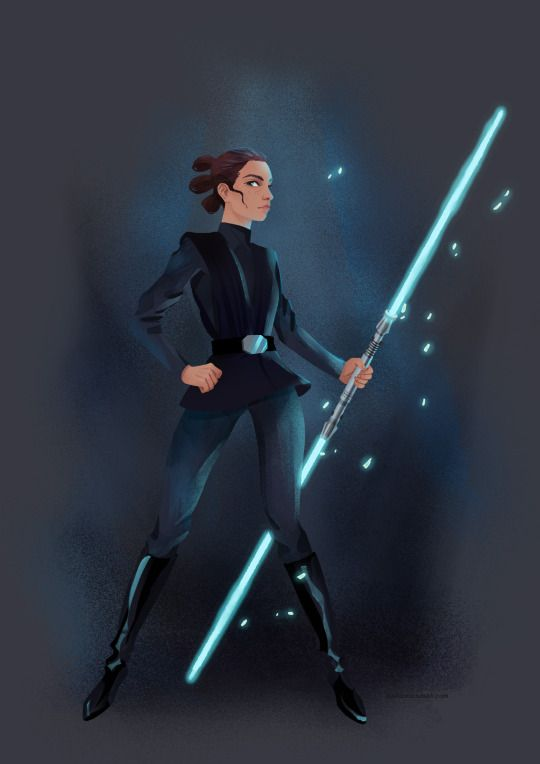 """Rey, rocking Luke's black outfit :) She is ready to kick the First Order into the black hole :)"""