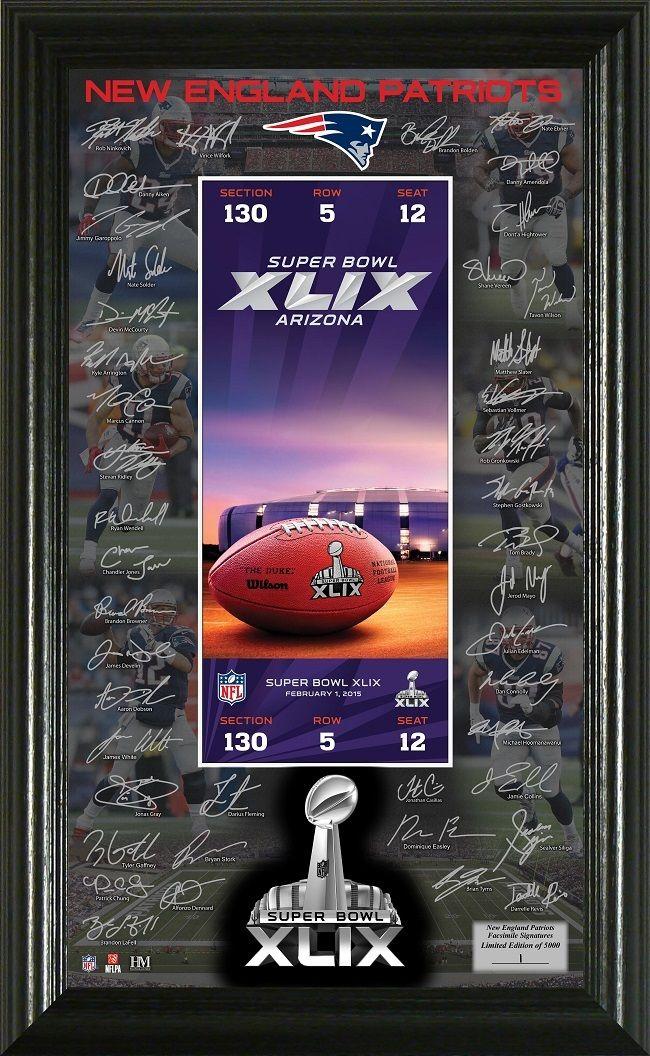 AAA Sports Memorabilia LLC - New England Patriots Super Bowl 49 Signature Ticket, $49.99 (http://www.aaasportsmemorabilia.com/nfl/new-england-patriots/new-england-patriots-super-bowl-49-signature-ticket/)