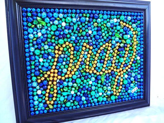 Mardi Gras bead Pray framed original bead art 8 by BayoulandBeads, $28.00