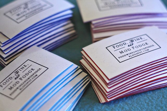 Reuse old business cards :: diy recycled business cards using stamp and felt
