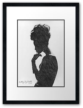 """Silhouette"" by Bethany Joy Monsted. Silhouette of a beautiful lady's profile, very retro in style. This is a hand-drawn pencil illustration I drew XX"