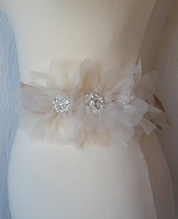 Blush Champagne Bridal Sash Bridal Belt Wedding by TheRedMagnolia, $96.00 @Armana Christianson
