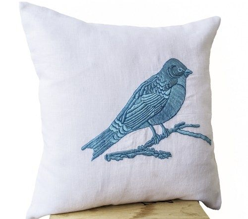 Blue Bird Embroidered on White Linen Pillow Cover -Blue White ...