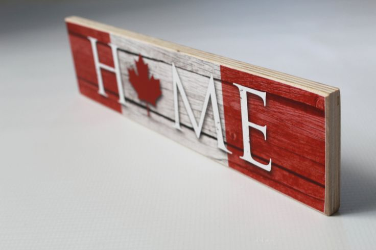 Canadian flag inspired home sign great for everyday decor! Free-standing and the perfect addition an entryway table, mantle or any flat surface. Measuring 3″x12″, this sign is the perfect decor accent