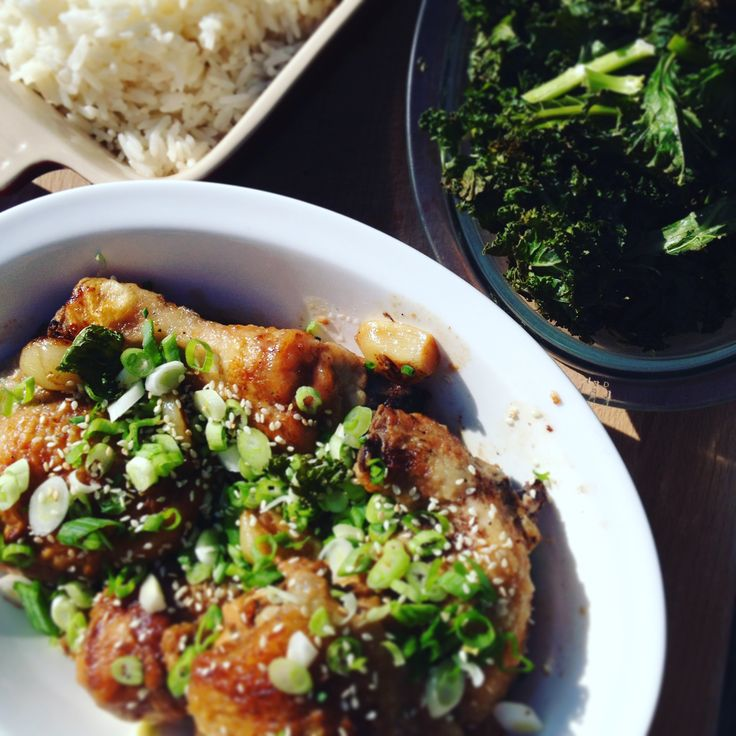 Chinese braised chicken with garlic, crispy kale
