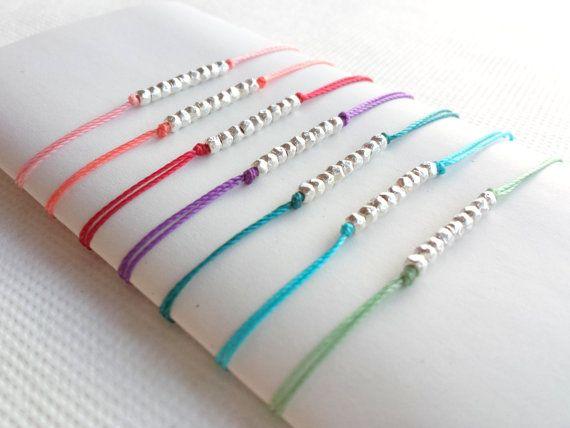 Wish Bracelet Perles Plaquées Argent et Cordon Coloré