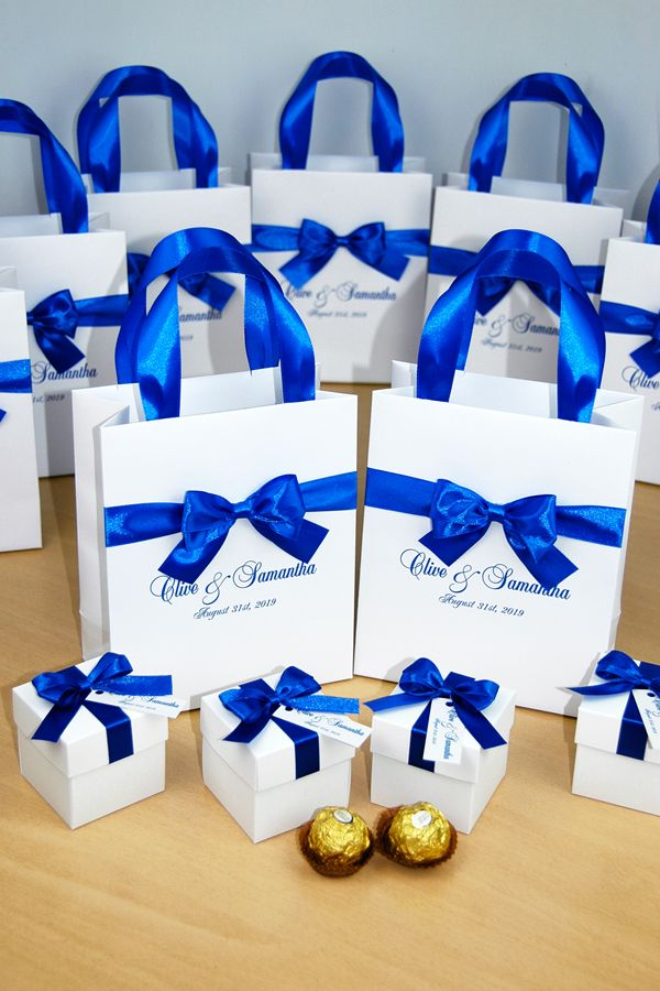 White Blue Wedding Bonbonniere Wedding Favor Box With Satin Ribbon Bow And Custom Tag Elegant Personalized Candy Boxes For Guests Blue Wedding Favors Wedding Welcome Bags Royal Blue Wedding Favors