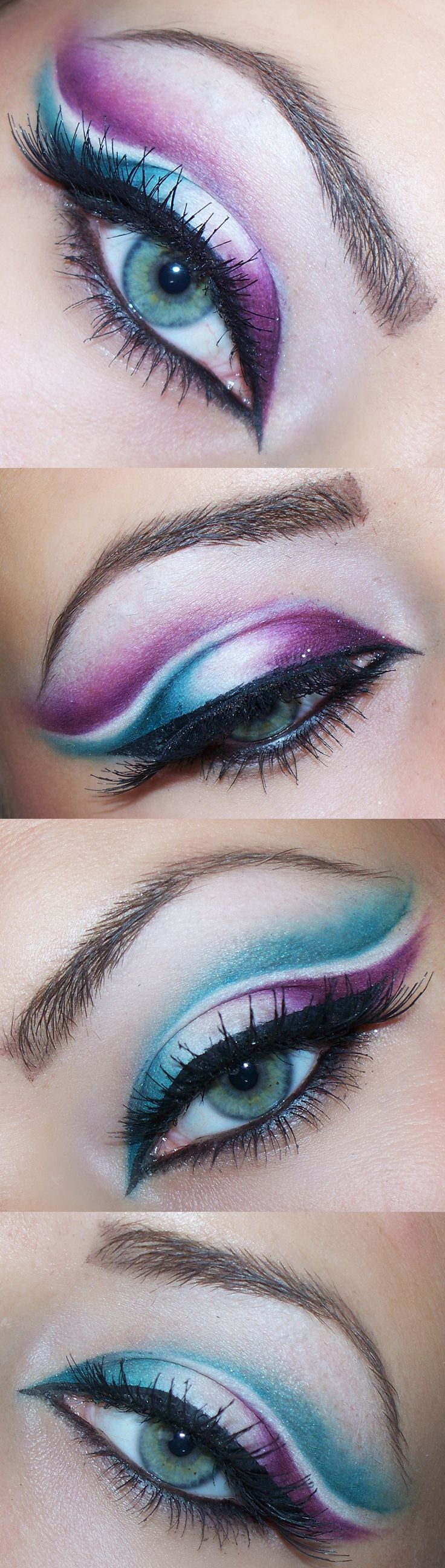 The Best Eyeshadow for Blue Eyes...........Two-colored makeup.