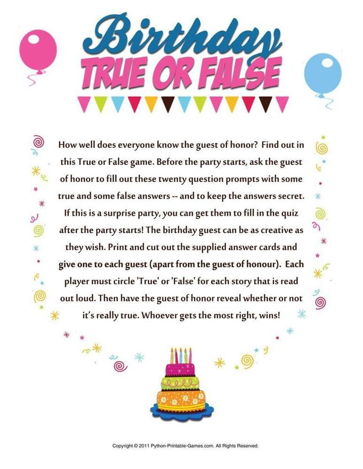 Birthday Party True Or False 395