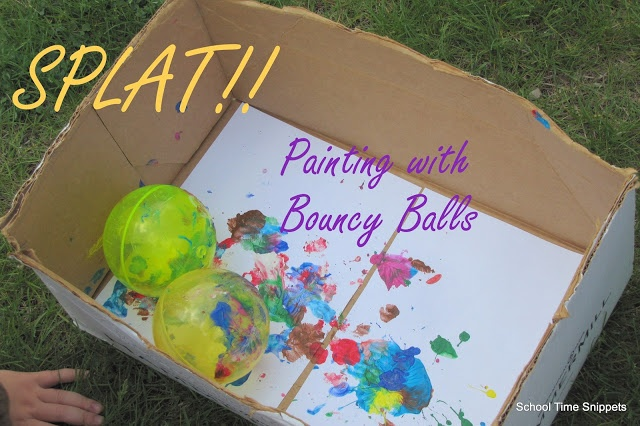 School Time Snippets: SPLAT! !  Painting with bouncy balls= messy fun!!