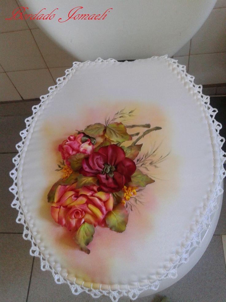 Flores Bordadas En Cinta Hojas En Tela De Raso Pintura