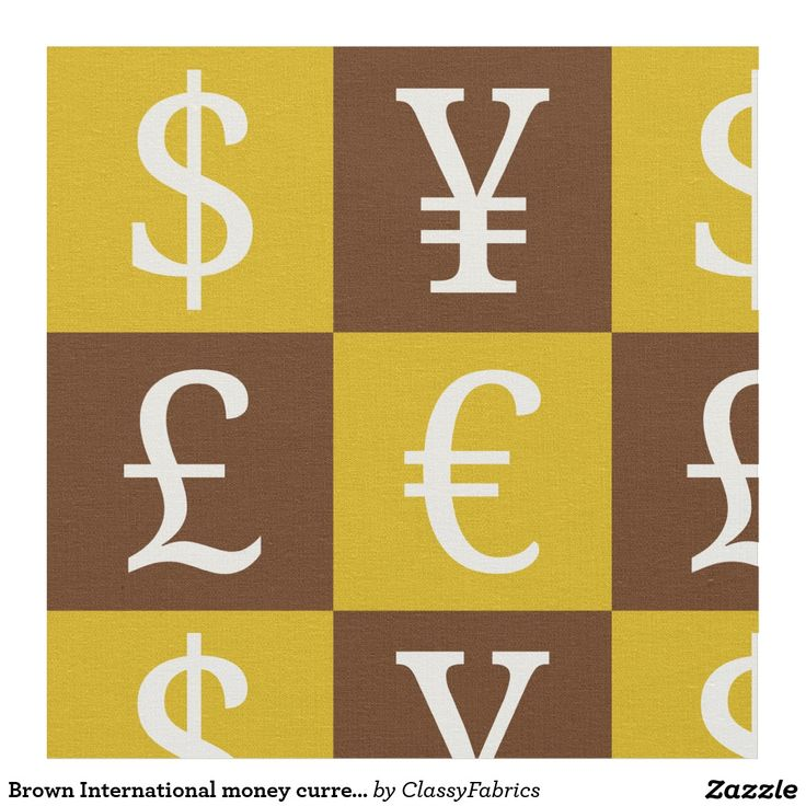 Brown International money currencies signs pattern Fabric