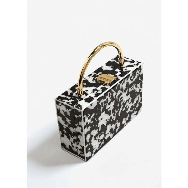 Bicolor Box Bag (€56) ❤ liked on Polyvore featuring bags, handbags, black, two tone bag, mango handbags, mango bags, metallic bag and snap purse