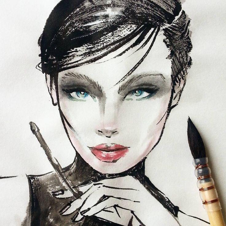 Luma ~ Fashion illustration ~ ink on rice paper ~ Sumi-e #fashionillustration #lumagrothe #illustration #myart #painting #watercolor #ink #paper #art #artist #nevenazamfi #xuan #sumie #brush