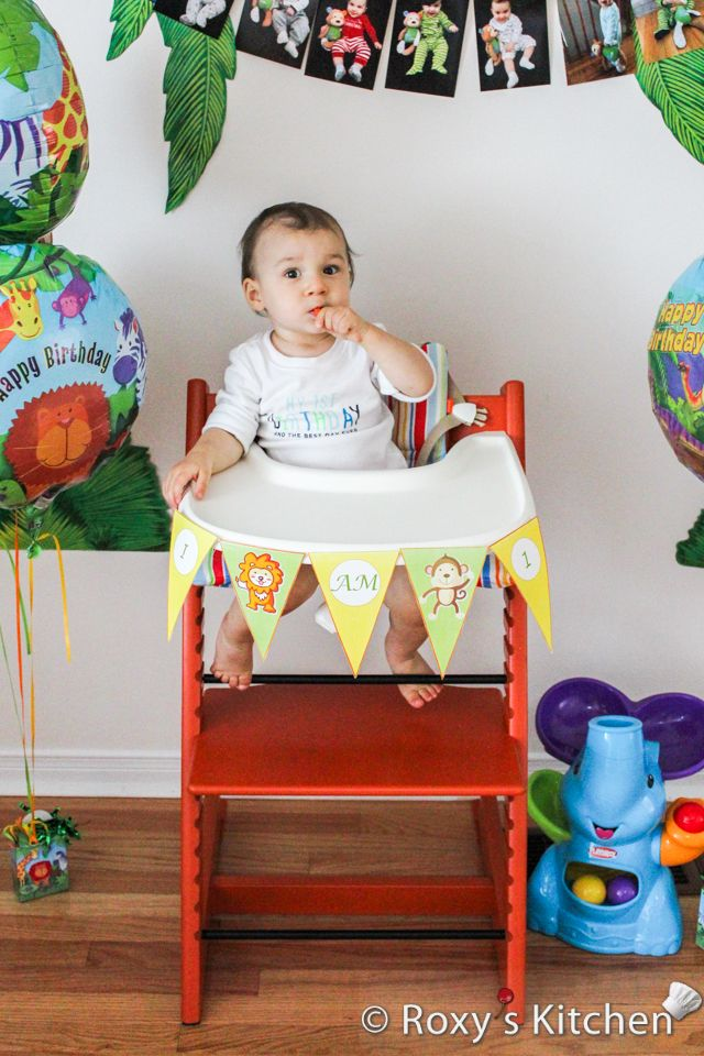 safari high chair outdoor covers adelaide jungle themed first birthday party diy banner free printable included animal cake ideas in 2019