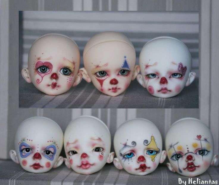 https://flic.kr/p/oHWLv4 | WIP Ldoll 2014! OOAK doll theme Clown | Clown Attack!  My 7 little clown are ready for the Ldoll! Now I need to work on their outfits!