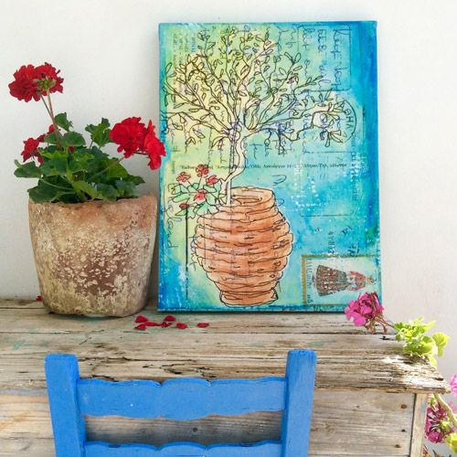 """Tree in a Pot"" Giclée Canvas Print, 46cm x 66cmby artist Gill Tomlinson. See her portfolio by visiting www.ArtsyShark.com"