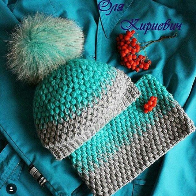 Очень красивый комплект от @olyakirievich  #вяжутнетолькобабушки #крючком #градиент #вязание #комплект #шапкаспицами #вязанаяшапка #вяжемдетям #хендмейд #зима #вязаниеназаказ #knitting #knit #handmade