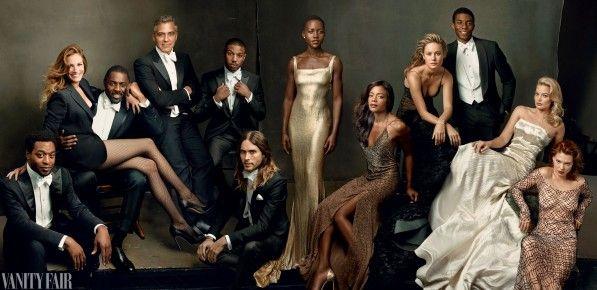 Chiwetel Ejiofor, Julia Roberts, Idris Elba, George Clooney, Michael B. Jordan, Jared Leto, Lupita Nyong'o, Naomie Harris, Brie Larson, Chadwick Boseman, Margot Robbie, and Léa Seydoux for Vanity Fair March 2014